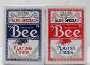 Baralho de cartas bee poker standart em vermelho ou azul