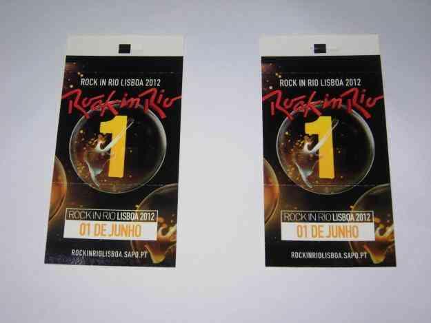 Bilhete Rock In Rio 1 e 2 Junho 2012