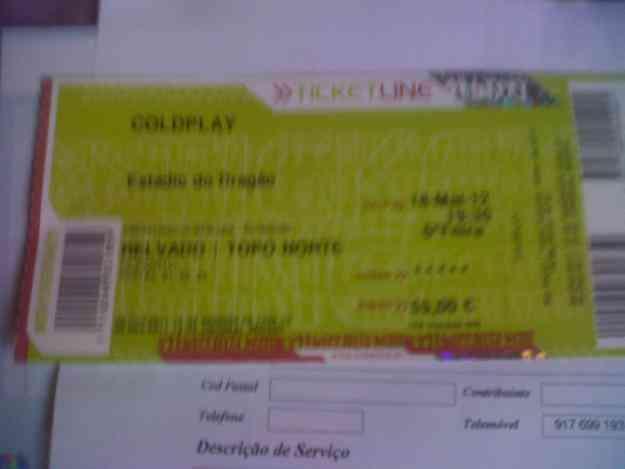 3 bilhetes coldplay 85  euros
