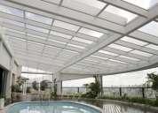 coberturas em vidro,policarbonato,alveolar compacto para piscina e árias diversas